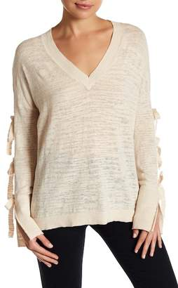 Minnie Rose Tied Up Linen Blend Sweater $196 thestylecure.com