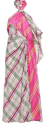 Prabal Gurung Draped Checked Silk-faille Halterneck Midi Dress