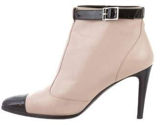 Chanel Pointed-Toe Leather Ankle Boots