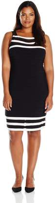 Adrianna Papell Women's Plus Size Matte Jersey Colorblocked Sheath Dress, Black/Ivory, 22W