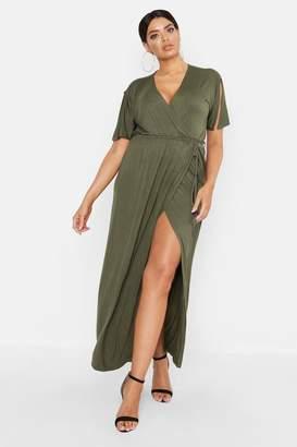 boohoo Plus Kimono Sleeve Wrap Maxi Dress