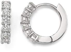 Roberto Coin 18K White Gold Small Hoop Earrings with Diamonds