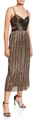 Aidan Mattox Pleated Metallic Stripe Sleeveless Midi Cocktail Dress