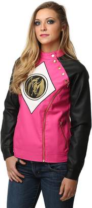 Mighty Fine womens Power Rangers Pink Ranger Juniors Moto Jacket