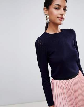Warehouse pointelle stitch sweater