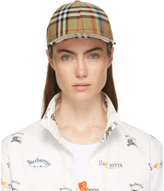 Burberry Yellow Rainbow Check Cap