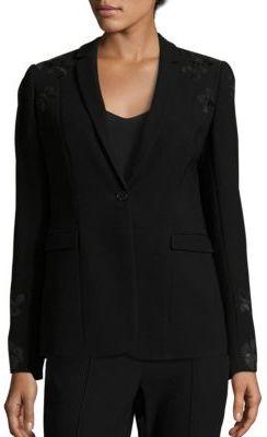 Elie Tahari Mauricia Lace Applique Crepe Blazer $428 thestylecure.com