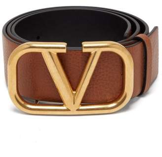 Valentino Monogram Buckle Full Grain Leather Belt - Womens - Tan