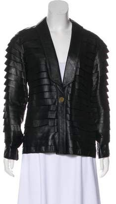 Just Cavalli Leather Long Sleeve Jacket