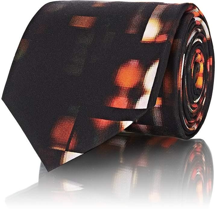 Men's Neon-Light-Print Silk Twill Necktie
