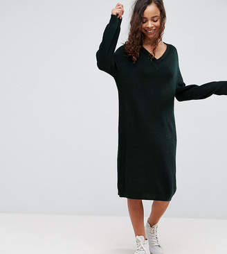 Asos Knitted Dress with Slouchy V Neck And Tipping