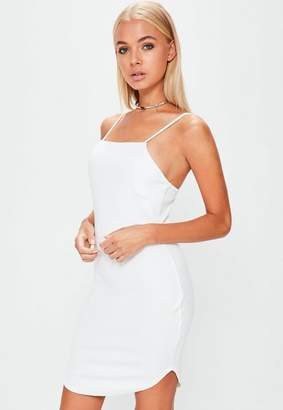 Missguided White Square Neck Curve Hem Bodycon Dress