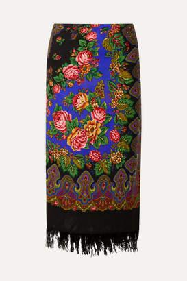 Vetements Scarf Wrap-effect Fringed Printed Wool Midi Skirt - Black