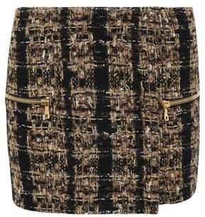 Balmain Wrap-Effect Metallic Tweed Mini Skirt