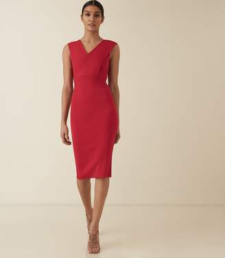 Reiss SALVIA KNITTED BODYCON DRESS Red