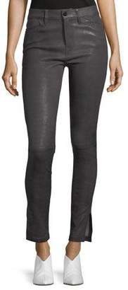 Frame Le High Skinny-Leg Leather Pants with Slit Hem
