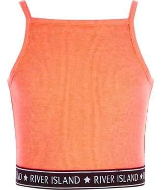 River Island Girls orange rib RI hem cami crop top