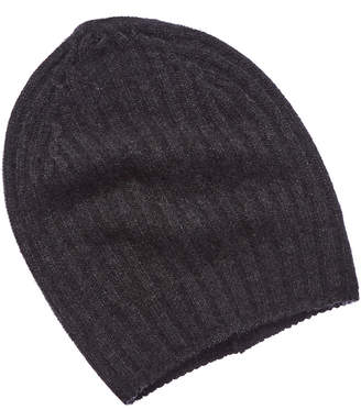 White + Warren Charcoal Heather Cashmere Ribbed Beanie