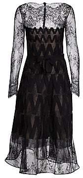 Oscar de la Renta Women's Long-Sleeve Zig Zag Lace A-Line Cocktail Dress