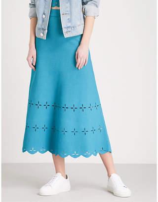 Sandro Laser-cut stretch-knit midi skirt