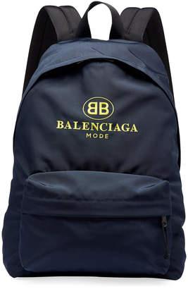 Balenciaga Men's Double-B Logo Backpack