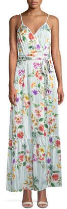 Tularosa Aubrie Striped Floral Wrap Long Dress
