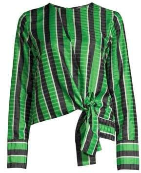 Robert Rodriguez Tie Hem Striped Blouse