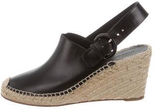 CelineCéline Leather Wedge Espadrilles