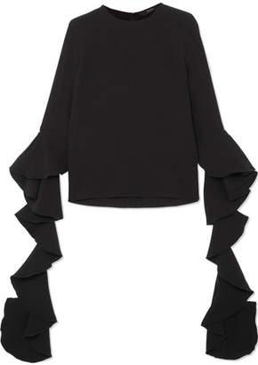 Ellery Emmeline Ruffled Crepe Top - Black