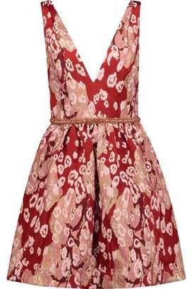 Marchesa Embellished Leopard-Print Brocade Mini Dress