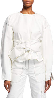 3.1 Phillip Lim Long-Sleeve Twill Pullover with Belt