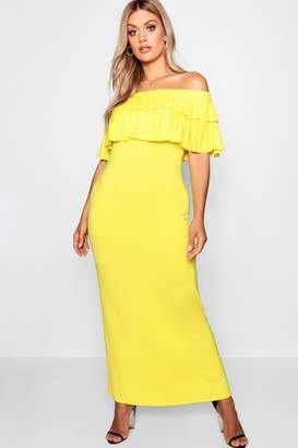 boohoo Plus Off Shoulder Ruffle Maxi Dress