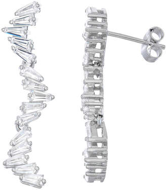 FINE JEWELRY Lab Created White Sapphire Sterling Silver Rectangular Drop Earrings