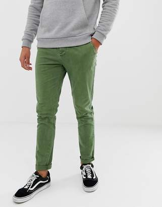 Asos Design DESIGN skinny chinos in washed green