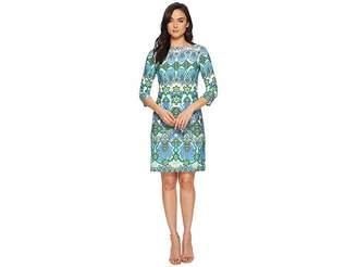 London Times Mayan Border Matte Jersey Shift Women's Dress