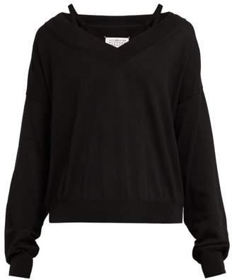 Maison Margiela V Neck Cotton Sweater - Womens - Black