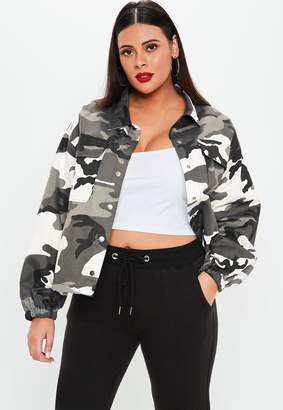 Missguided Plus Size Grey Camo Print Jacket