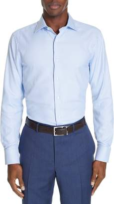 Canali Trim Fit Print Dress Shirt