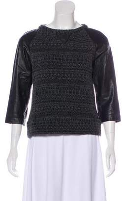 Gryphon Knit Leather-Accented Sweater