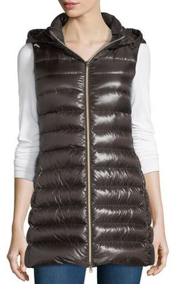 Herno Long Ribbed Fitted Zip-Front Vest w/ Removable Hood $575 thestylecure.com