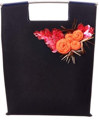 DELPOZO Flower Embellished Felt Tote