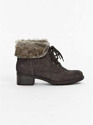 Evans WIDE FIT Grey Cuff Lace Up Ankle Boots