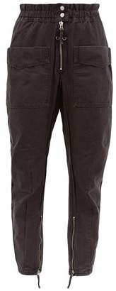 Etoile Isabel Marant Lecia Tapered Cotton Canvas Utility Trousers - Womens - Black