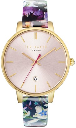 Ted Baker Kate Round Stainless Steel and Floral-Print Leather Strap Watch