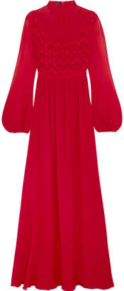 Lace And Silk-chiffon Gown - Red