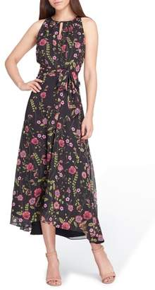 Tahari Floral Keyhole Neck Midi Dress
