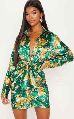 PrettyLittleThing Green Satin Floral Knot Front Detail Shirt Dress