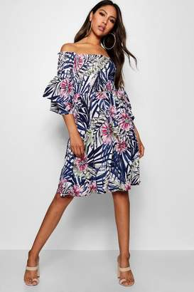 boohoo Soph Shirred Off The Shoulder Tropical Midi Dress
