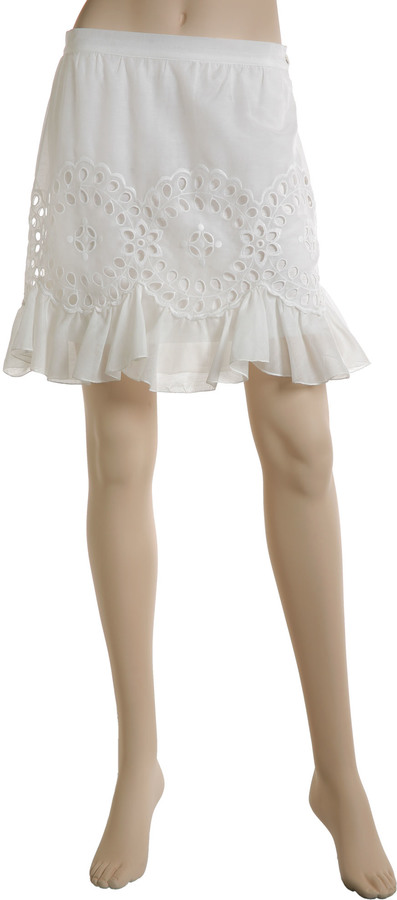 Embroidered Ruffle Hem Skirt