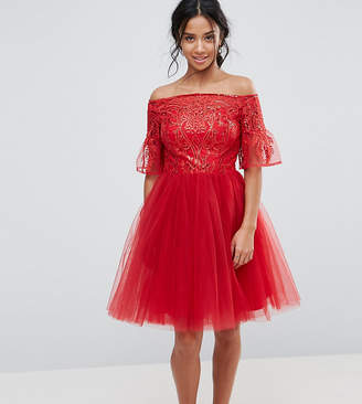Chi Chi London Petite Tulle Midi Prom Dress With Lace Fluted Sleeves